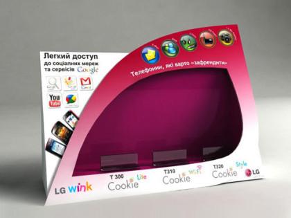 Дизайн нестандартного дисплея POS и шелфтокера LG Wink