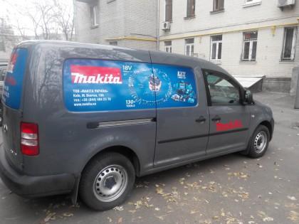 Поклейка авто для компании Makita  вид сбоку